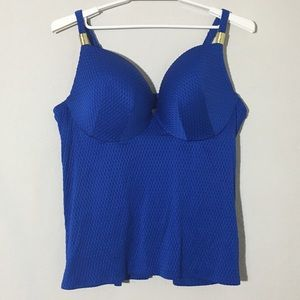 Cacique Swim Plunge Bra Tankini Top Blue 44DDD